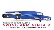 Swing arm QTT Ninja 150 R Square Fin Mounting bawah Blue CNC